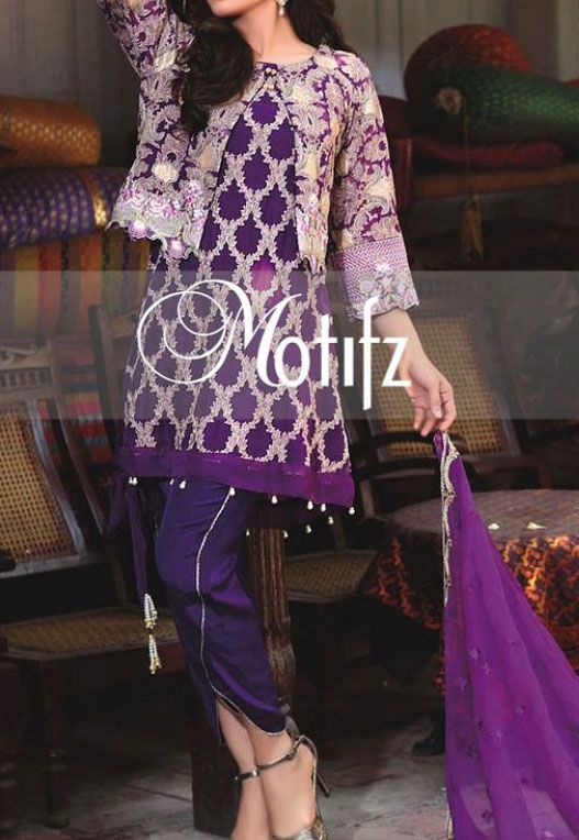 Buy Mauve Embroidered Crinkle Chiffon Dress by Motifz 2016