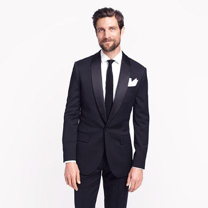 J.Crew's Ludlow shawl-collar tuxedo dinner jacket is ultra modern yet so classic. Perfect for a winter wedding groom or butch bride. See more gay and lesbian wedding fashion ideas on EquallyWed.com.