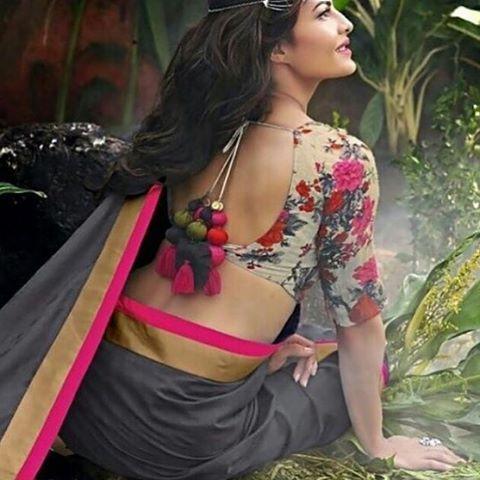 Floral blouse and a simple monotone #saree .. #jacklinefernandez stuns ! #floral