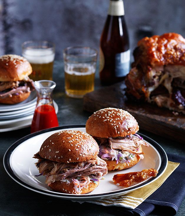 Slow-roasted pork shoulder rolls