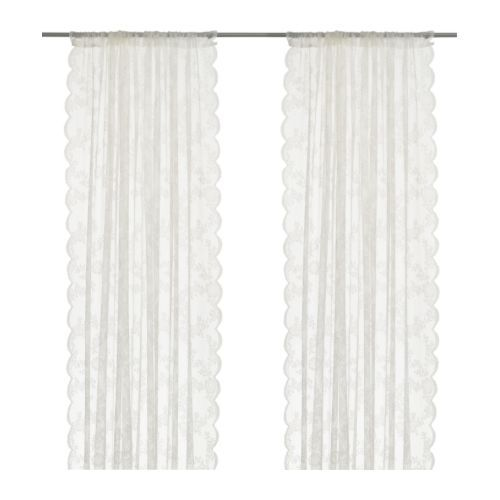 Refresh your textiles for the holidays. ALVINE SPETS sheer lace curtains are a steal at $9.99 a pair!