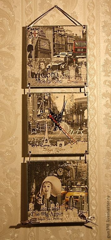 """Купить Часы-панно настенные """"Лондон-Париж-Нью-Йорк"""" - серый, часы декупаж"""