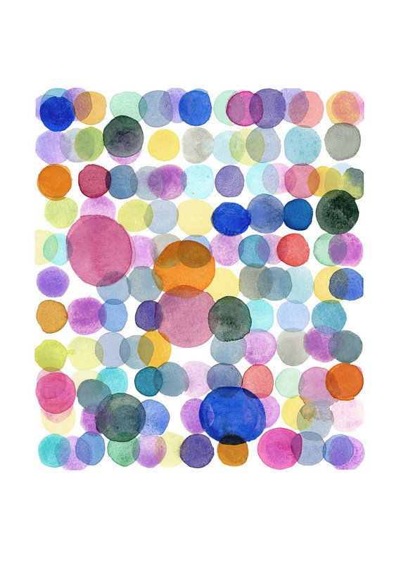 Colored dots. This listing is for a print from my watercolor painting. Papersize : (A4) 11,5 x 8,5 inches Comes unframed and unmatted. The