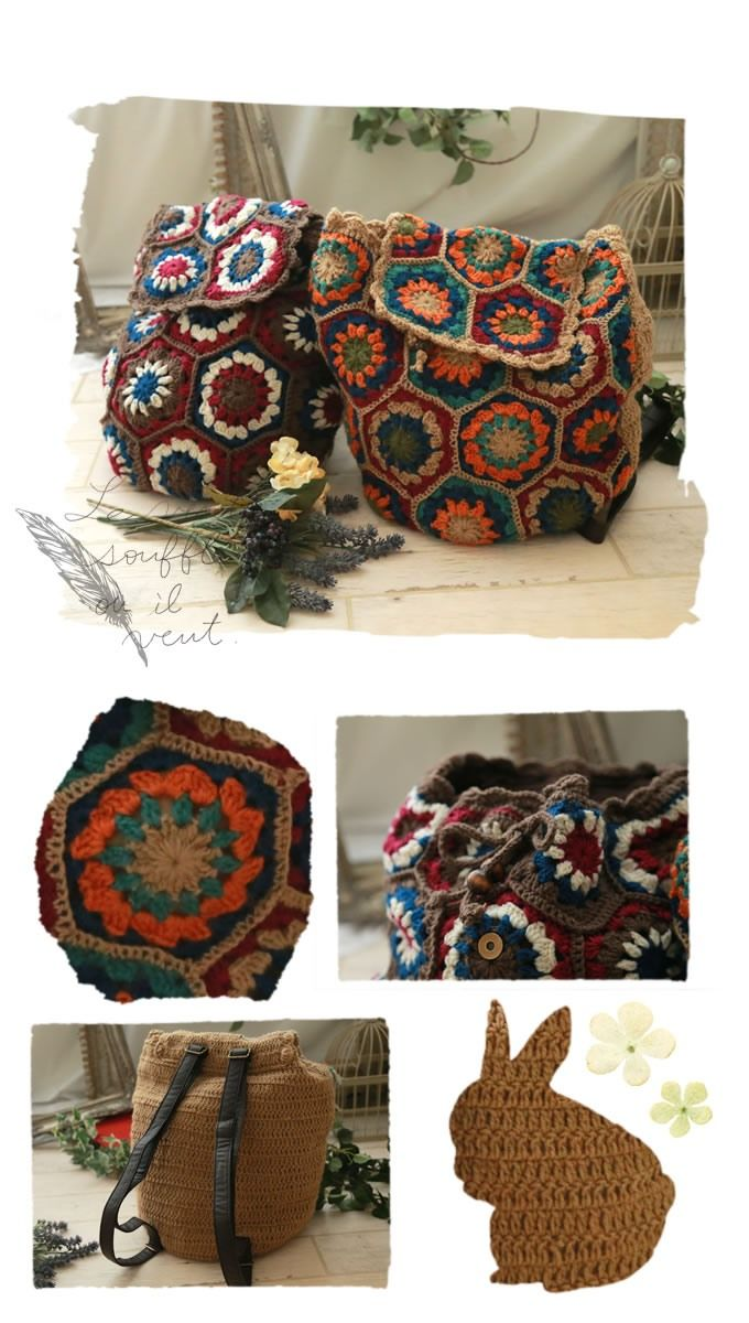 Сумки, рюкзаки : Разноцветная вязаная сумка-ранец