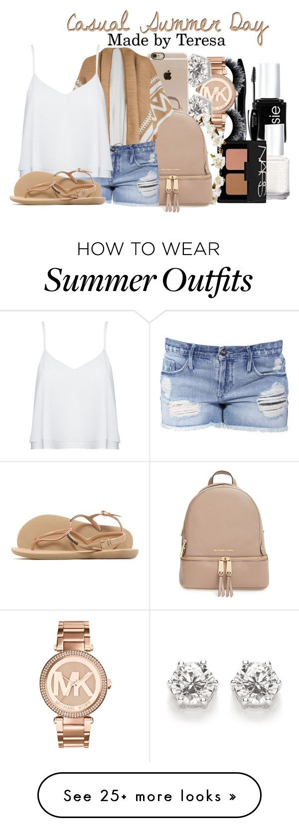 """""""casual summer day outfit //teresa"""" by classy-girls-xo on Polyvore featuring Essie, Lancôme, NARS Cosmetics, Michael Kors, Incase, Cult Gaia, MICHAEL Michael Kors, Black Orchid, Alice + Olivia and Havaianas"""
