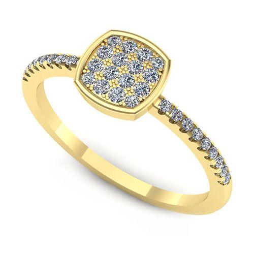 Inelul este format din:   * Piatra principala: 16 x diamant, dimensiune: ~1.30mm, greutate totala: ~0.16ct, forma: round; * Pietre secundare: 18 x diamant, dimensiune: ~1.00mm, forma: round