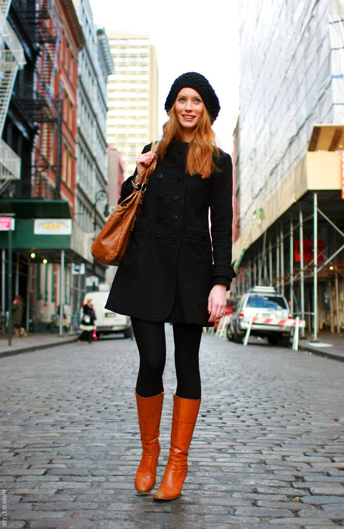all black with brown boots...