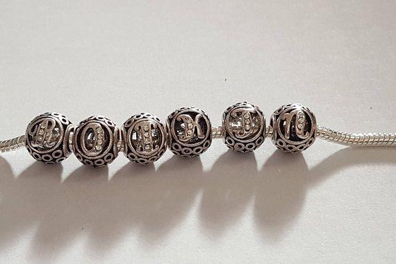 Alphabet lettre charms breloque argent , breloques pour bracelet ...