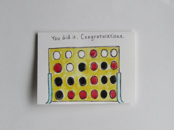 Congrats Connect Four Greeting Card by AnnaJaynesDesigns on Etsy, $3.95