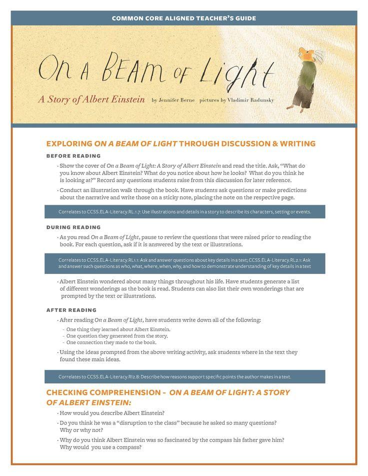 Teacher's Guide for ON A BEAM OF LIGHT, by Jennifer Berne, illustrated by Vladimir Radunsky