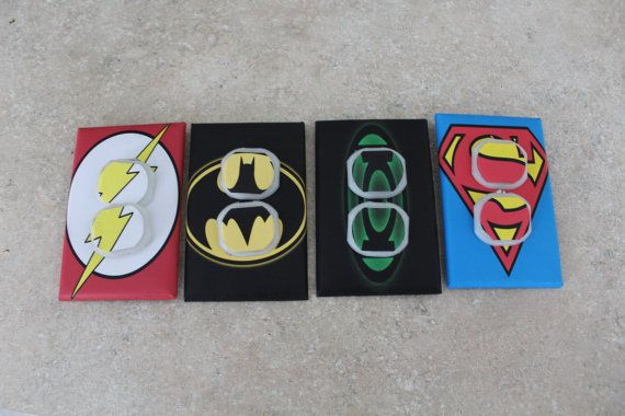 4 Comic Book outlet covers w/ plugs  Great Stocking Stuffer !!!!!!!!! Whats the one thing that every home / apt has and there all exactly the same ...Light Switches Why not make yours unique and personalized!!!  - Unbreakable light switch cover plate  - Screws are included  - Plates receive a final coat of varnish to ensure durablility and easy cleaning  * Plates are available in a large variety of sizes and designs, double, triple, rocker etc.  I also do custom designs for you favorite…