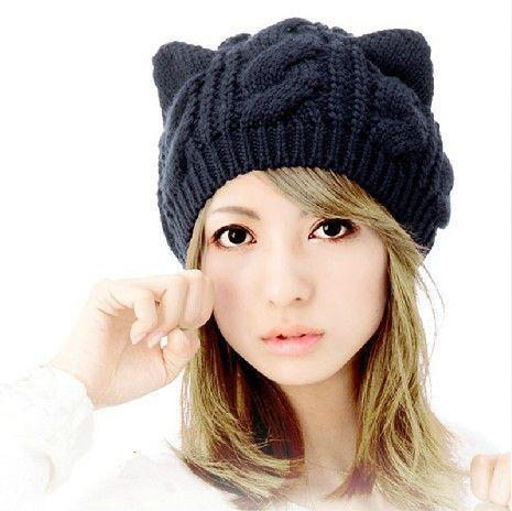 2013 Fashion Korean Women Lady Devil Horns Cat Ear Crochet Braided Knit Ski Beanie Wool Hat Cap Winter Warm Beret HTZZM-087 $6.20
