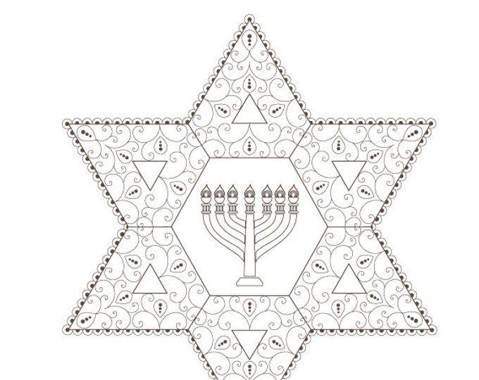 Hanukkah Menorah-Hanukkah Coloring Page-Menorah Art-Jewish ...