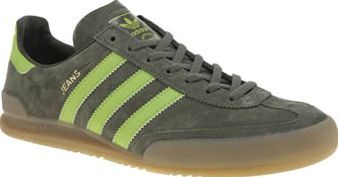 Adidas Green Jeans Mens Trainers First released as a training shoe in 1980, the adidas Jeans has become a much-loved icon among the retro sneaker fans of today. Arriving in green, this suede style features iconic T-toe overlays, sitt http://www.comparestoreprices.co.uk/january-2017-8/adidas-green-jeans-mens-trainers.asp