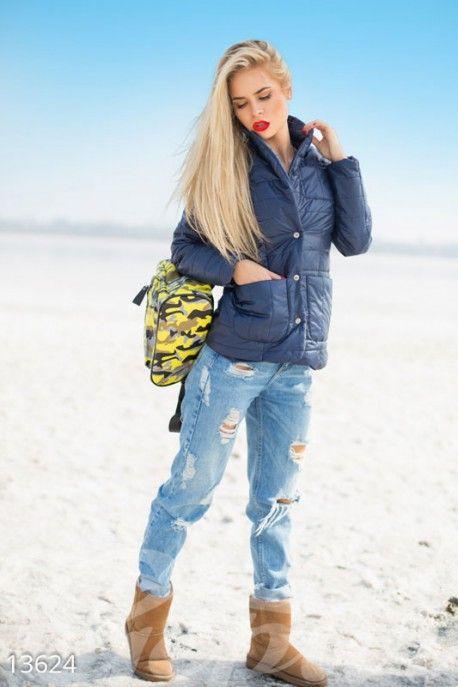 Gepur | Синяя осенняя куртка арт. 13624 Цена от производителя, достоверные описание, отзывы, фото