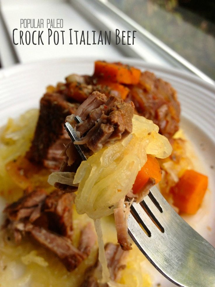 Paleo Crock Pot Italian Beef on www.PopularPaleo.com | The easiest Paleo recipe you'll ever make, thanks to the Crock Pot!