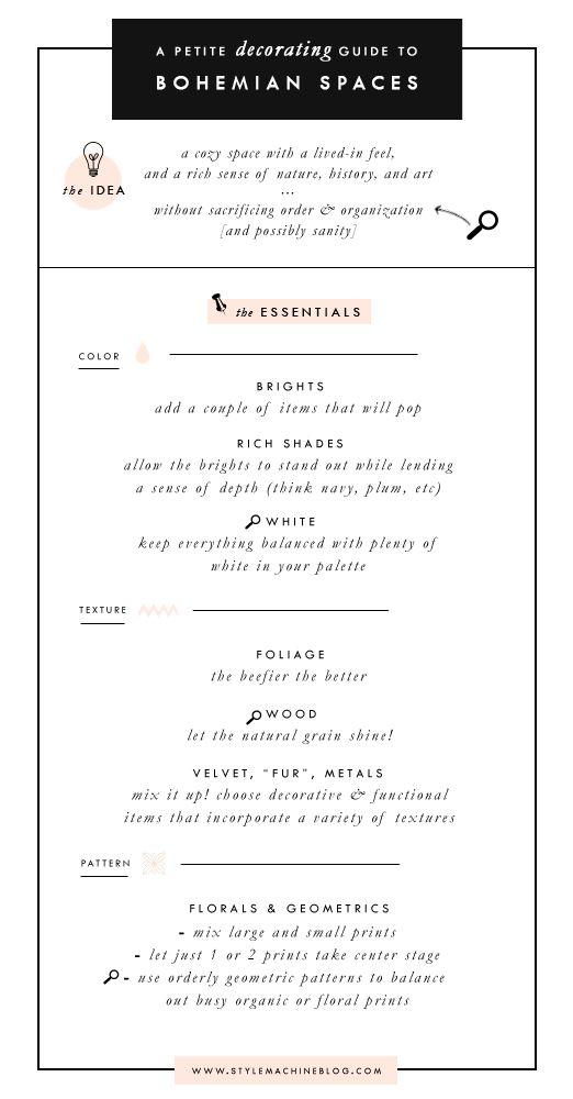A Cheat Sheet for Bohemian Modern Decorating via StyleMachineBlog.com