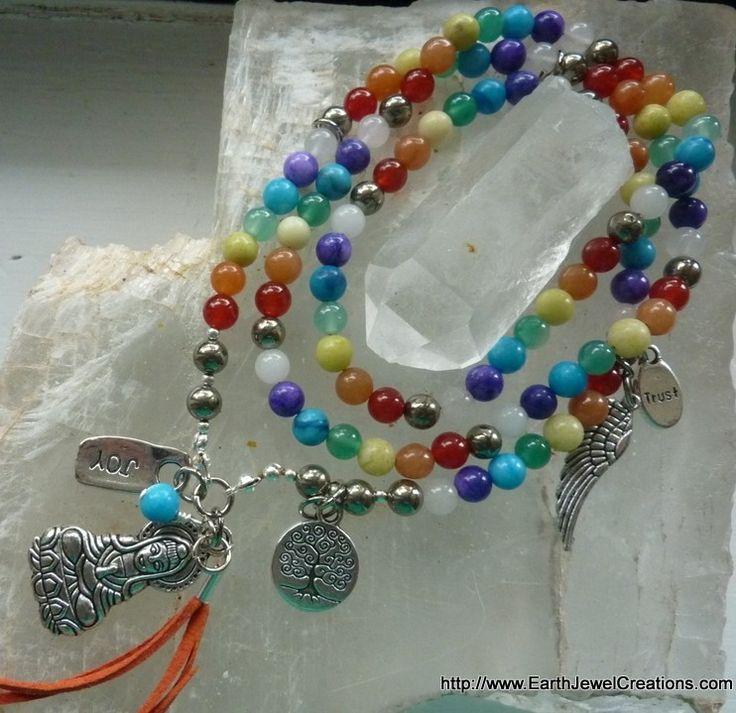 Chakra Mala Necklace - Inspirational handmade gemstone jewellery Earth Jewel Creations Australia