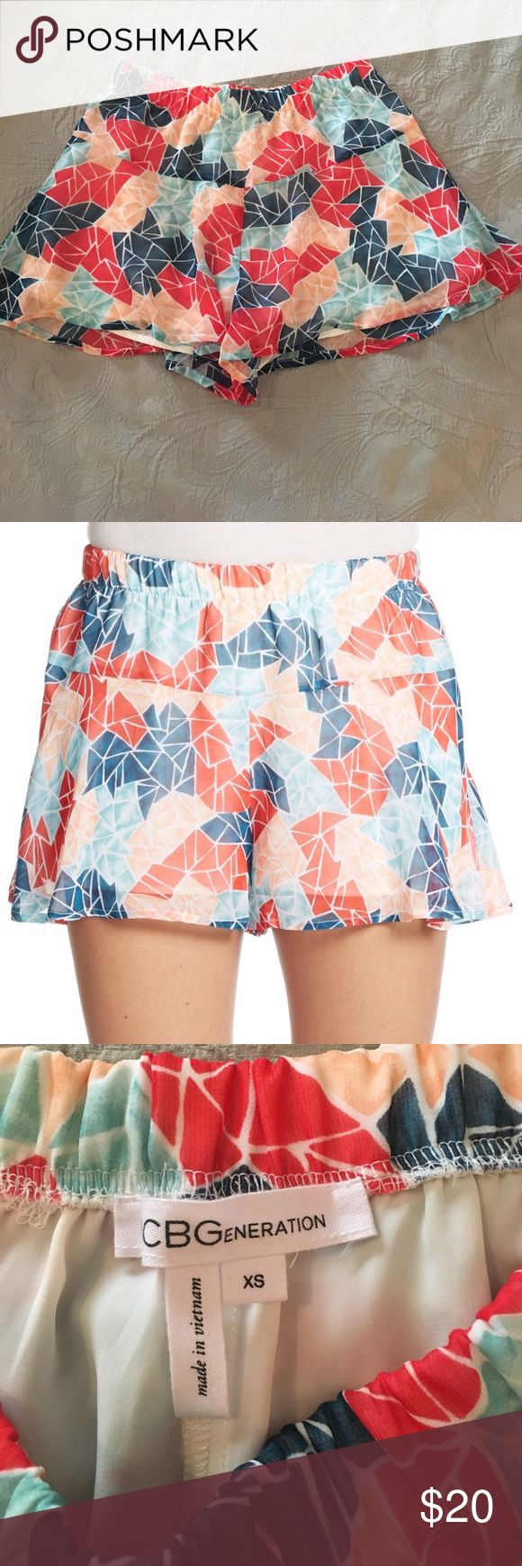 """BCBGeneration Geometric print shorts -IN PERFECT CONDITION!  -Elastic waistband  -Fully lined  -100% Polyester  -Machine wash cold  -2"""" inseam  -Approx. 11"""" in length  -Questions and REASONABLE offers are welcome  -Pet friendly home but smoke free -Bundle to save 💕 BCBGeneration Shorts"""