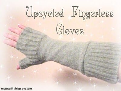 upcycled fingerless gloves from an old sweater - Tutorial