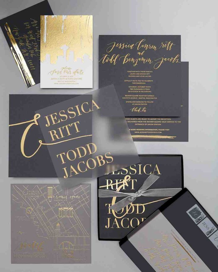 "A Stylish Gray-and-Gold Seattle Wedding | Martha Stewart Weddings - After toying with the ""out of left field"" idea of leather invitations, the couple chose triple-thick custom card stock stamped with gold foil designed by La Happy."