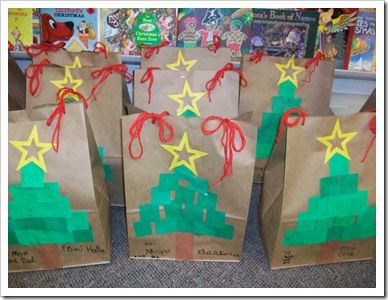 Cute bags for parent gifts. (Use sponge paint squares instead of paper.)