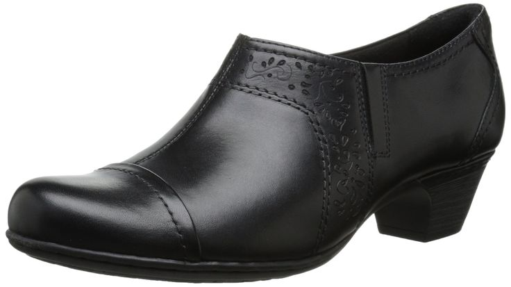 Rockport Cobb Hill Women's Alexis Dress Pump, Black, 8 N US. Low heeled collection with a tailored look and sure fit. Extended sizes and widths offered. Comfort ethylene vinyl acetate insole with extra cushioning. Soft leather uppers. Heel height 1 1/2.
