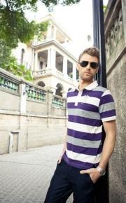 Elegant Striped Turndown Collar Men's Polo Shirts