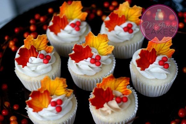 Fall Cupcakes Topped with Colorful Fondant Leaves