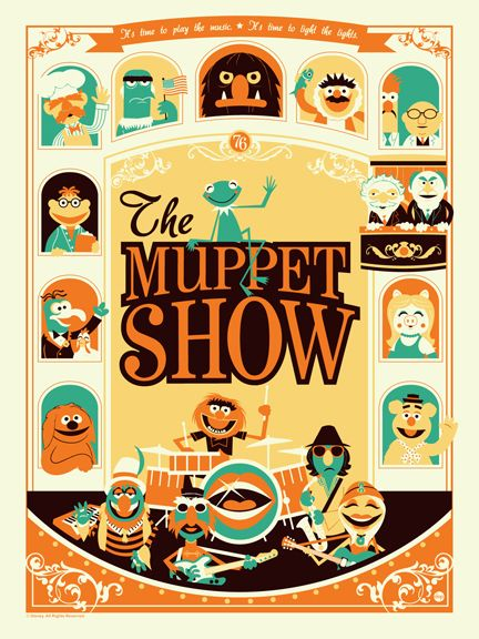 The Muppet Show by Dave PerilloOld Schools, Posters Prints, Dave Perillo, Illustration, Themuppetshow, The Muppets Show, Colors Schemes, Graphics, Fans Art
