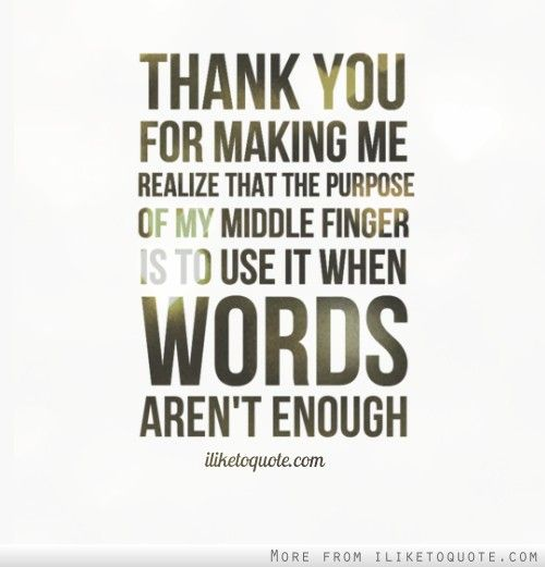 Thank you for making me realize that the purpose of my middle finger is to use it when words aren't enough.