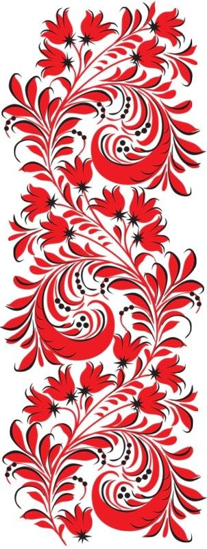Folk Khokhloma painting from Russia. Floral pattern. #art #