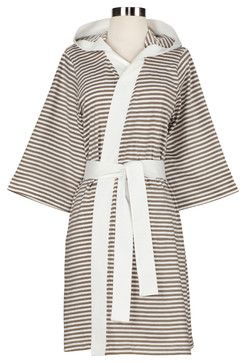 Knee Length Striped Jersey Knit Robe, White/Tan - contemporary - Bathrobes - Nine Space