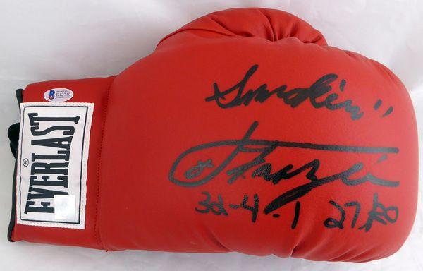 """Smokin"""""""" Joe Frazier Autographed Red Everlast Boxing Glove """"""""32-4-1 27 TKO"""""""" Beckett BAS #D12740"""