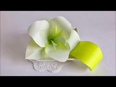 【Paper Flower】折り紙2枚で作る『上品なユリ(カサブランカ)』Oriental Hybrid Lily - YouTube