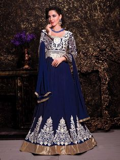 Designer Indian wedding wear anarkali churidar suit in Blue F15687