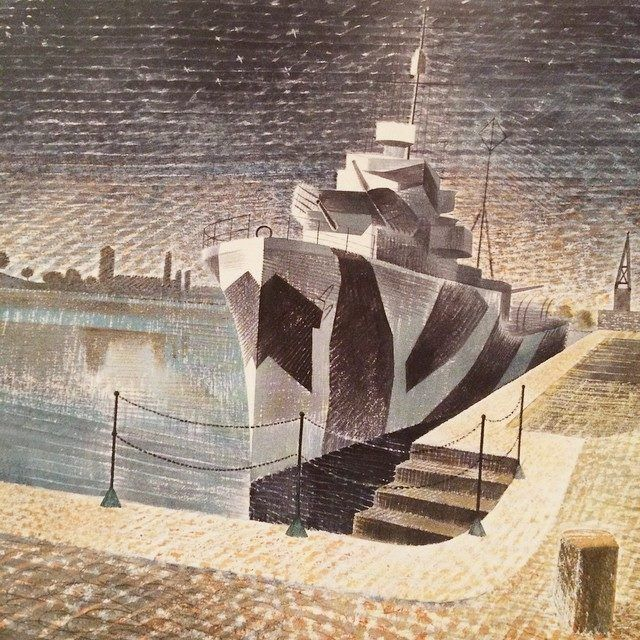 'Destroyers At Night' by Eric Ravilious, 1940