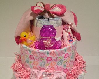 Pink Butterfly Three Tier Diaper Cake. by PAMPartyHomeDesignCo
