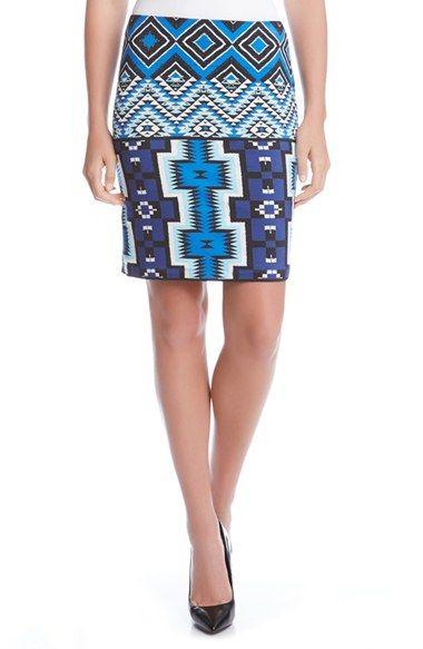 Karen Kane Aquamarine Print Pencil Skirt