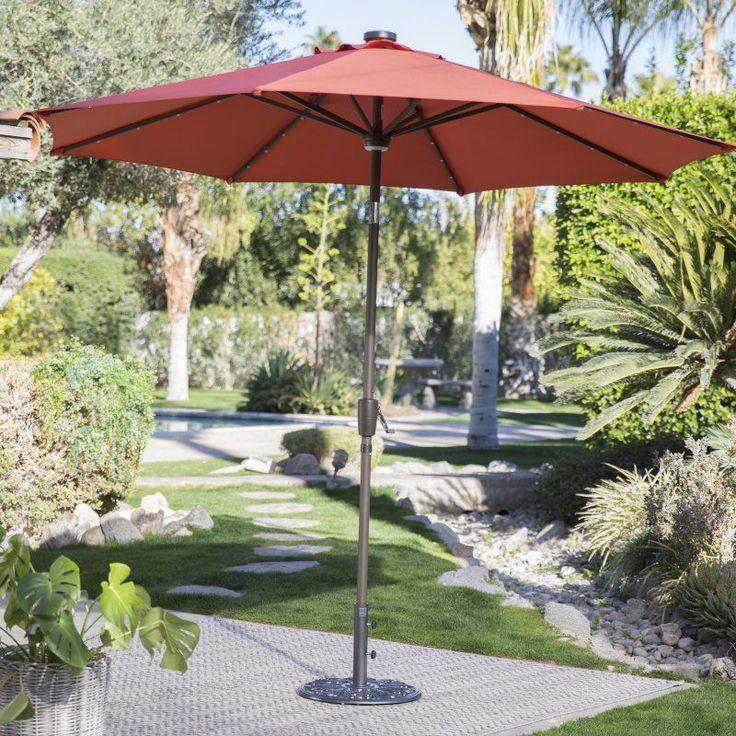 steel solar lighted push button tilt patio umbrella apple green 15