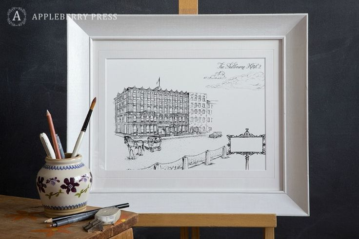 Pen sketch of palatial 1842 venue overlooking St.Stephens Green, Dublin