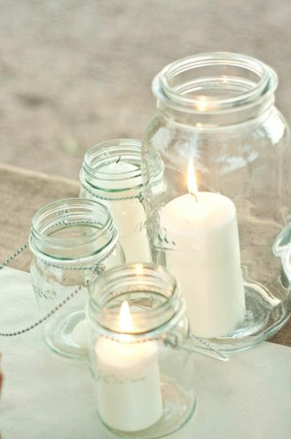 Simple and pretty candlesDecor, Ideas, Candles Holders, Candles Jars, Mason Jar Candles, Centerpieces, Mason Jars Crafts, Jars Lights, Mason Jars Candles