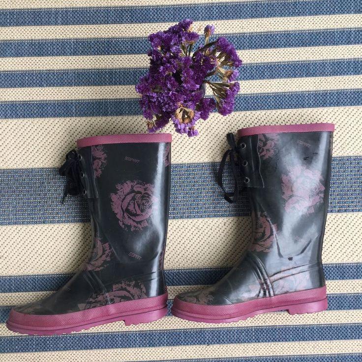 ESPRIT Size 39 8 Sturdy Women's Rain Boots Black Magenta Pink Floral Hunter  | eBay