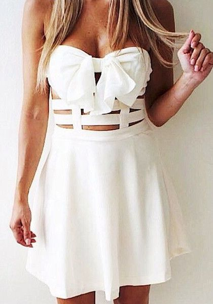 Strapless Bowknot White Dress