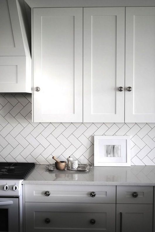 Subway tile: non-traditional stacking. Savings Stretchers: 8 Times Inexpensive Materials Looked Really Great in the Kitchen