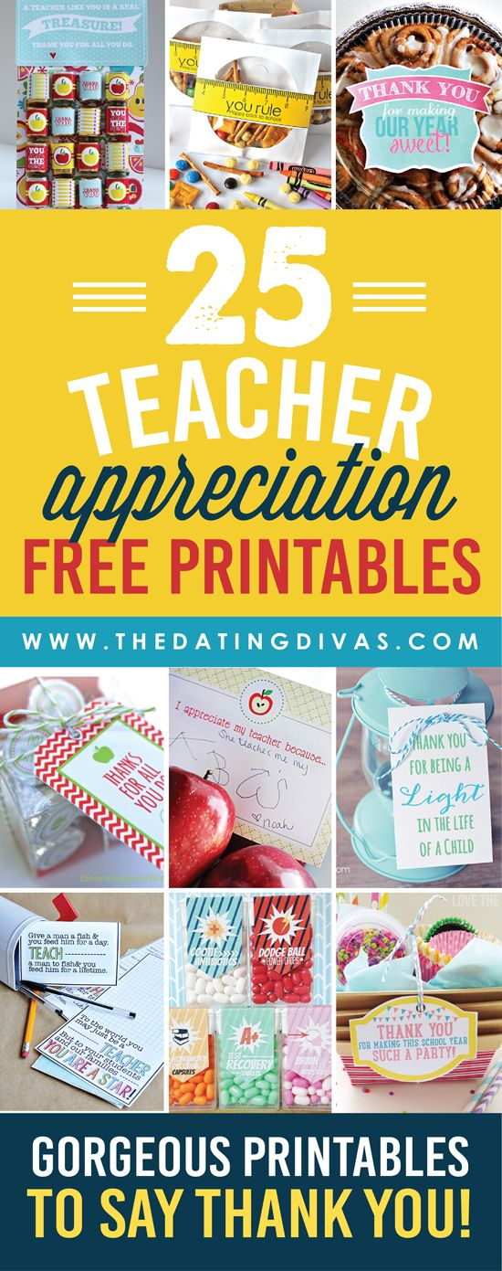 So many CUTE Teacher Appreciation Printables – and the best part is they are all FREE!!!! www.TheDatingDivas.com