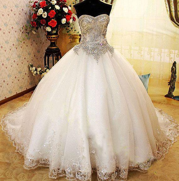 Crystal Wedding Dress, Princes Wedding Dress,Corset Wedding Dress, Embroidery Wedding Dress on Etsy, $850.00