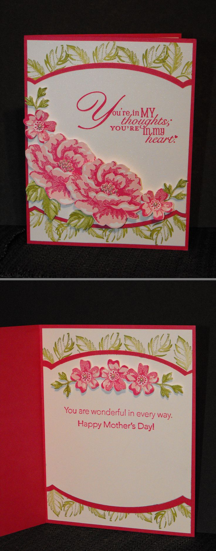 Love the stamped leaves peeking out from under the curved layers! Stampin Up Stippled Blossoms, Word Play and Messages for Mom. Inside view of My Mother's day card.