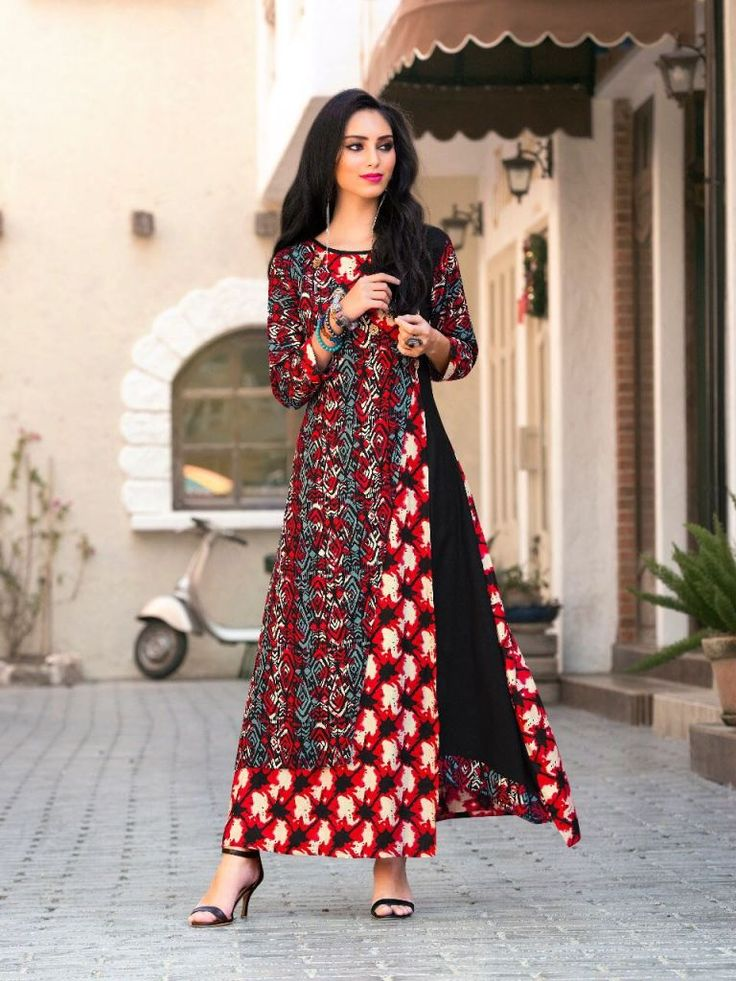 #maroon #colourful #rayon #print #kurti | rayon printed kurti | full sleeves | fancy wear | casual wear