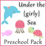Under the Sea (girly) preschool pack with math, alphabet, and ocean themed printables